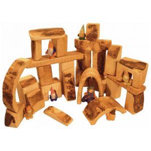 Bikeho Waldorf set of blocks made of natural wood with bark left on