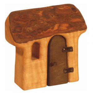 Bikeho Waldorf toy wooden house with door for nature table decoration