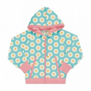 Maxomorra organic hoodie for children with colourful daisy prints