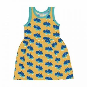 Maxomorra organic dress for children sleeveless with colourful hyppo prints