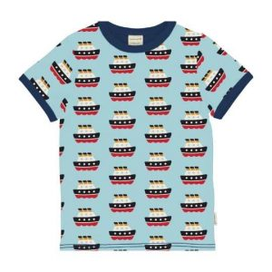 Maxomorra organic top for children short sleeves with colorful ferry prints