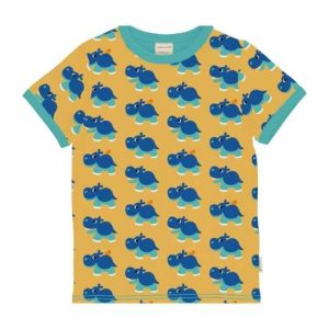 Maxomorra organic top for children short sleeves with colorful hippo prints