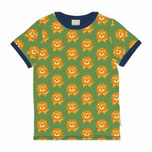 Maxomorra organic top for children short sleeves with colorful lion prints