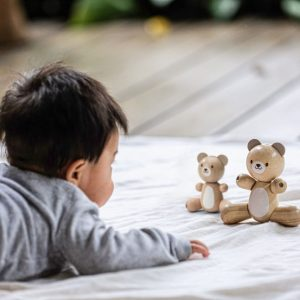 Plan Toys Wooden toy bear and little bear made of