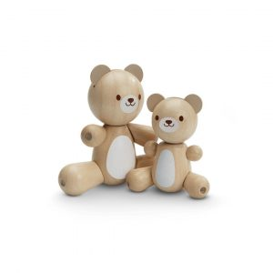 Plan Toys Wooden toy bear and little bear natural