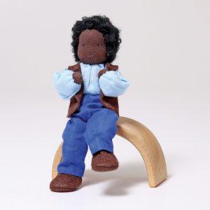Grimm's Mr Ebony dark-skin father dollhouse doll handmade of wool