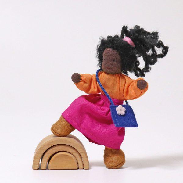 Grimm's Lisa dark-skin daughter dollhouse doll handmade of wool