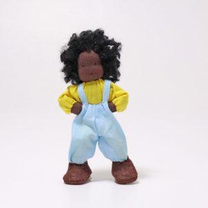 Grimm's Max dark-skin boy dollhouse doll handmade of wool