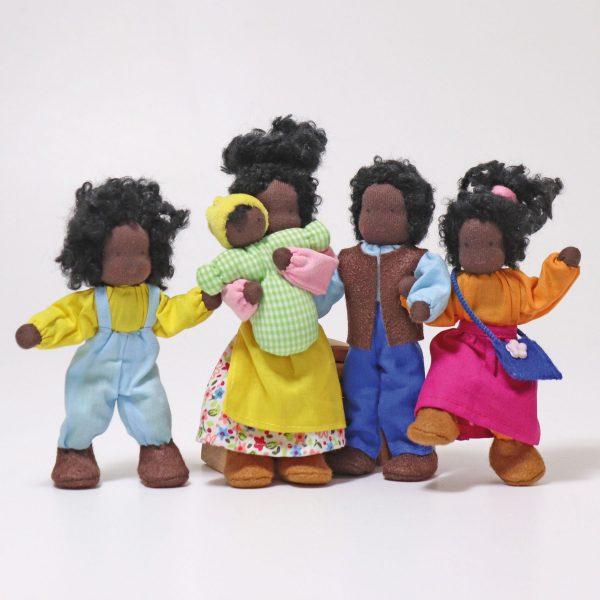 Grimm's Ebony dark-skin dollhouse dolls handmade of wool