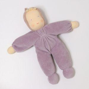 Grimm's purple Waldorf doll handmade of natural materials