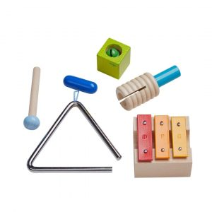 Haba set of percussion musical instruments made of wood and metal